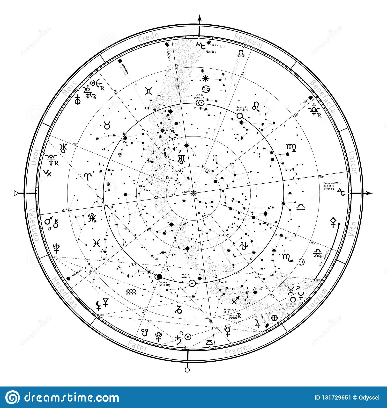 Astrological Celestial Map Of Northern Hemisphere  Horoscope On