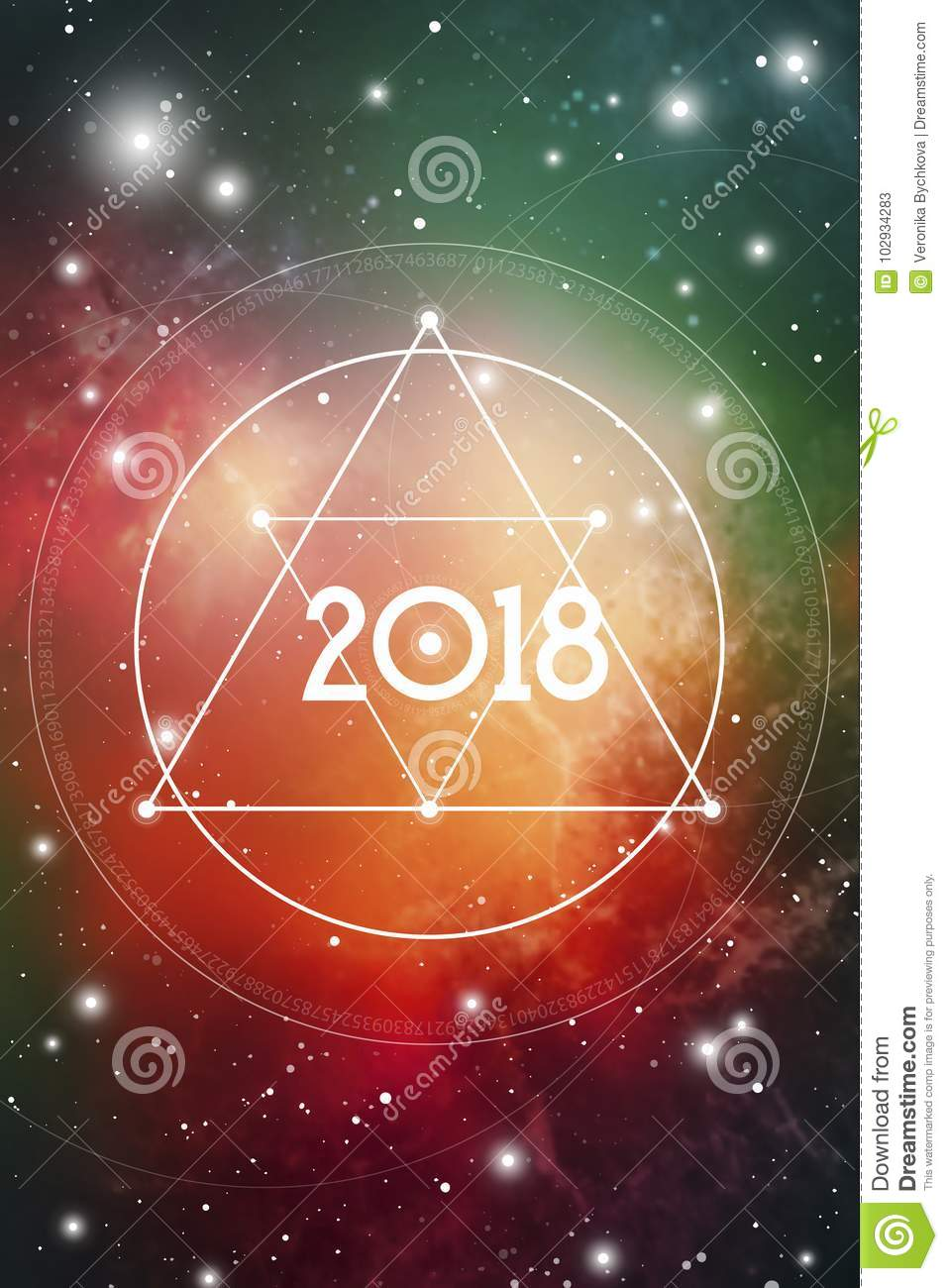 Astrological New Year 2018 Greeting Card Or Calendar Cover On Cosmic