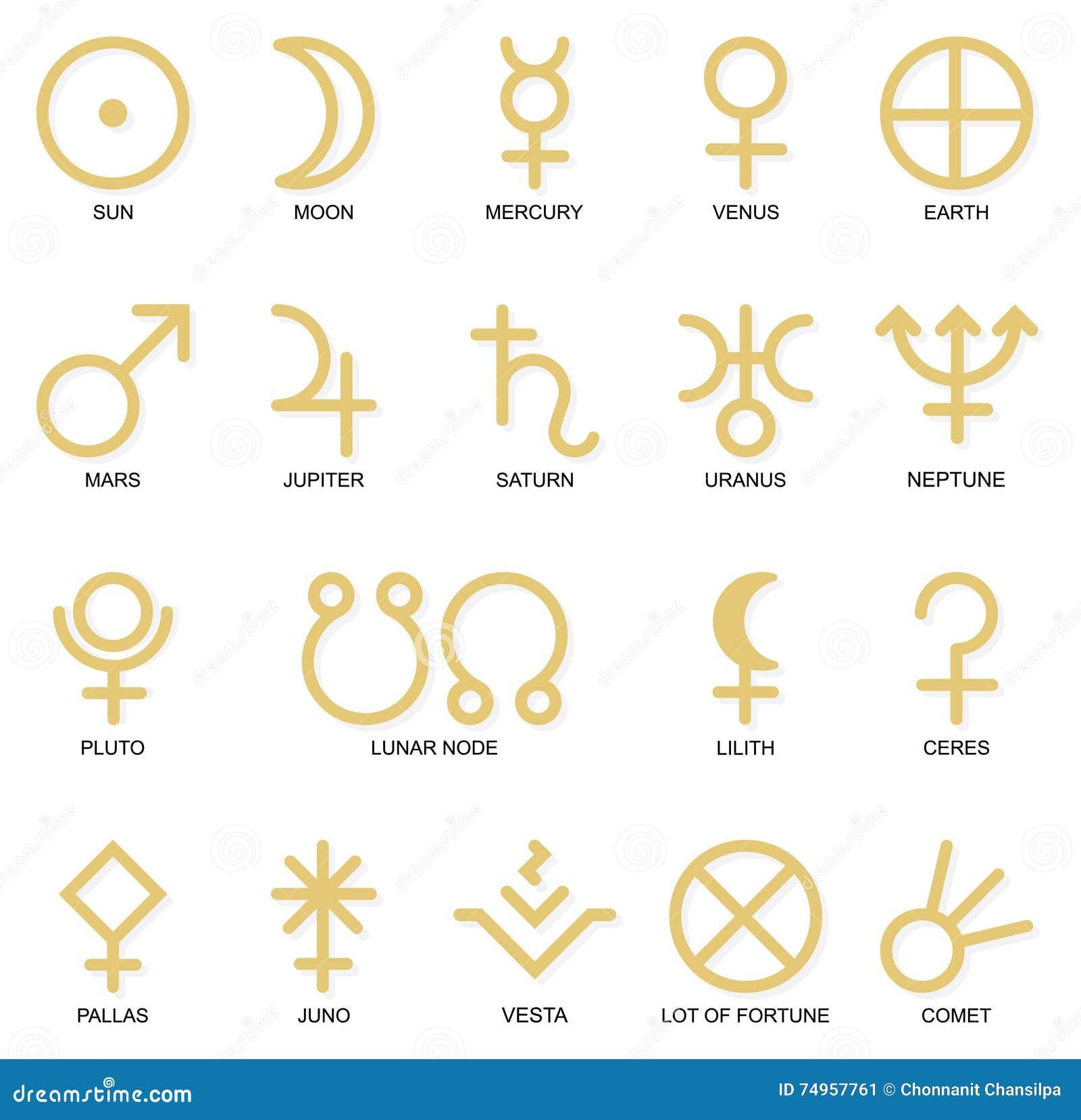 Astrological Planet Symbols Stock Illustration Illustration Of
