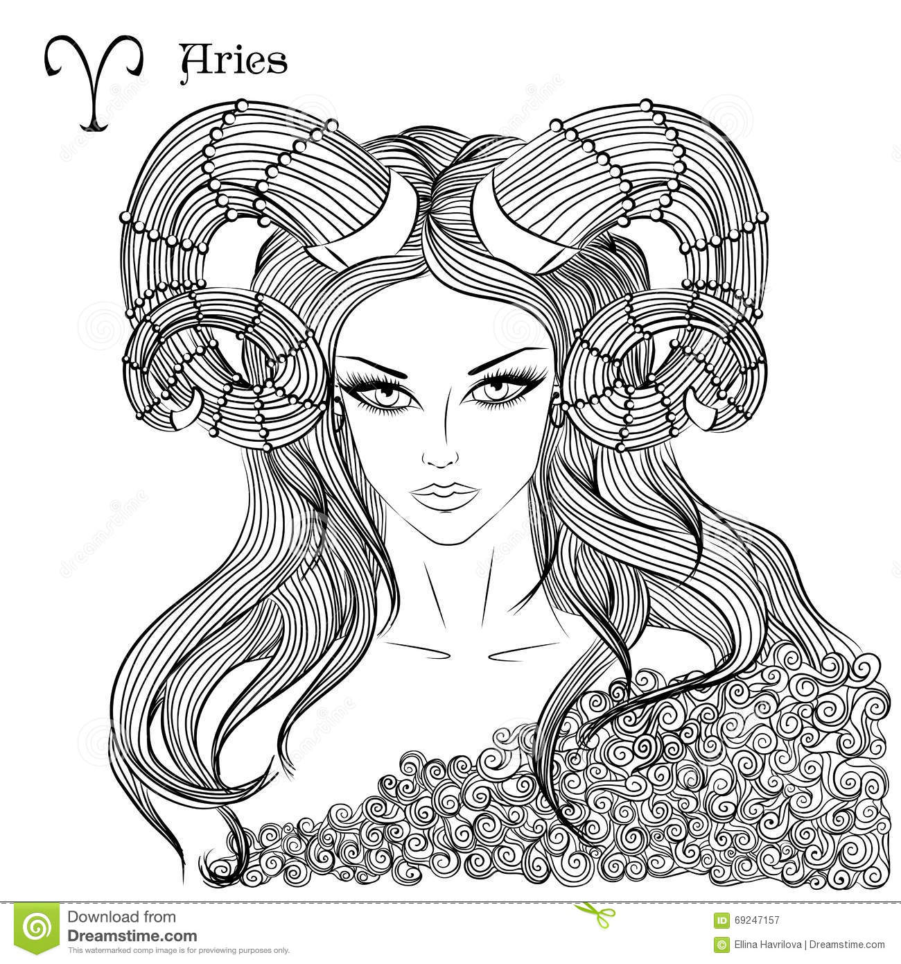 hand drawn pattern for coloring book zodiac aries stock vector
