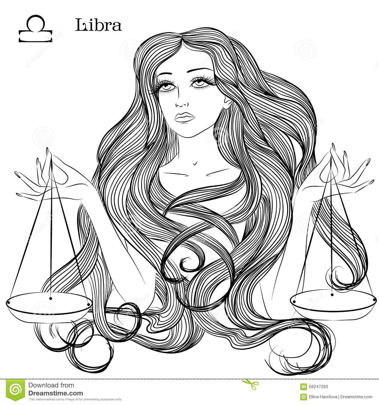 Astrological Sign Of Libra As A Beautiful Girl Stock ...