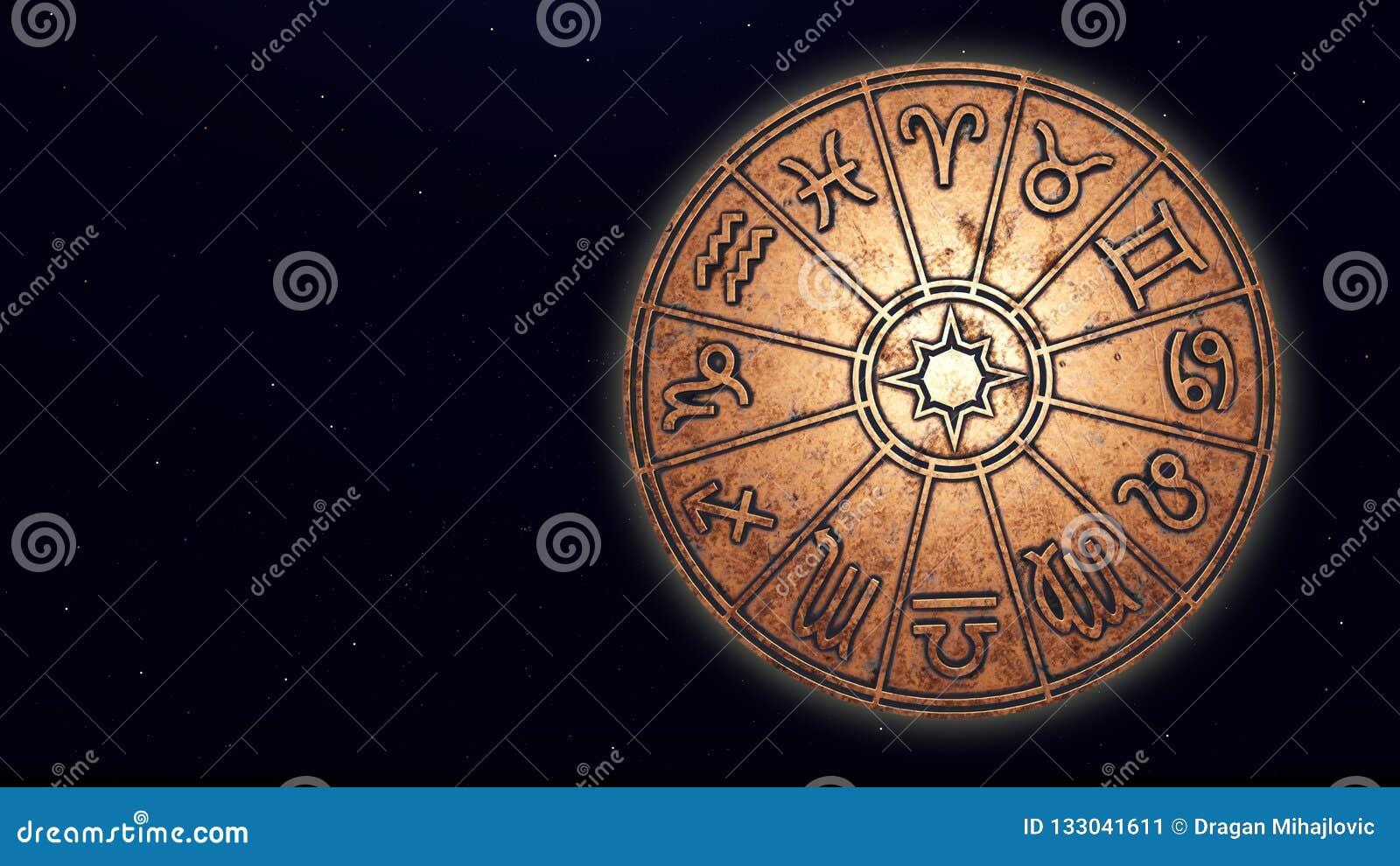 Astrologische dierenriemtekens binnen van de cirkel van de koperhoroscoop
