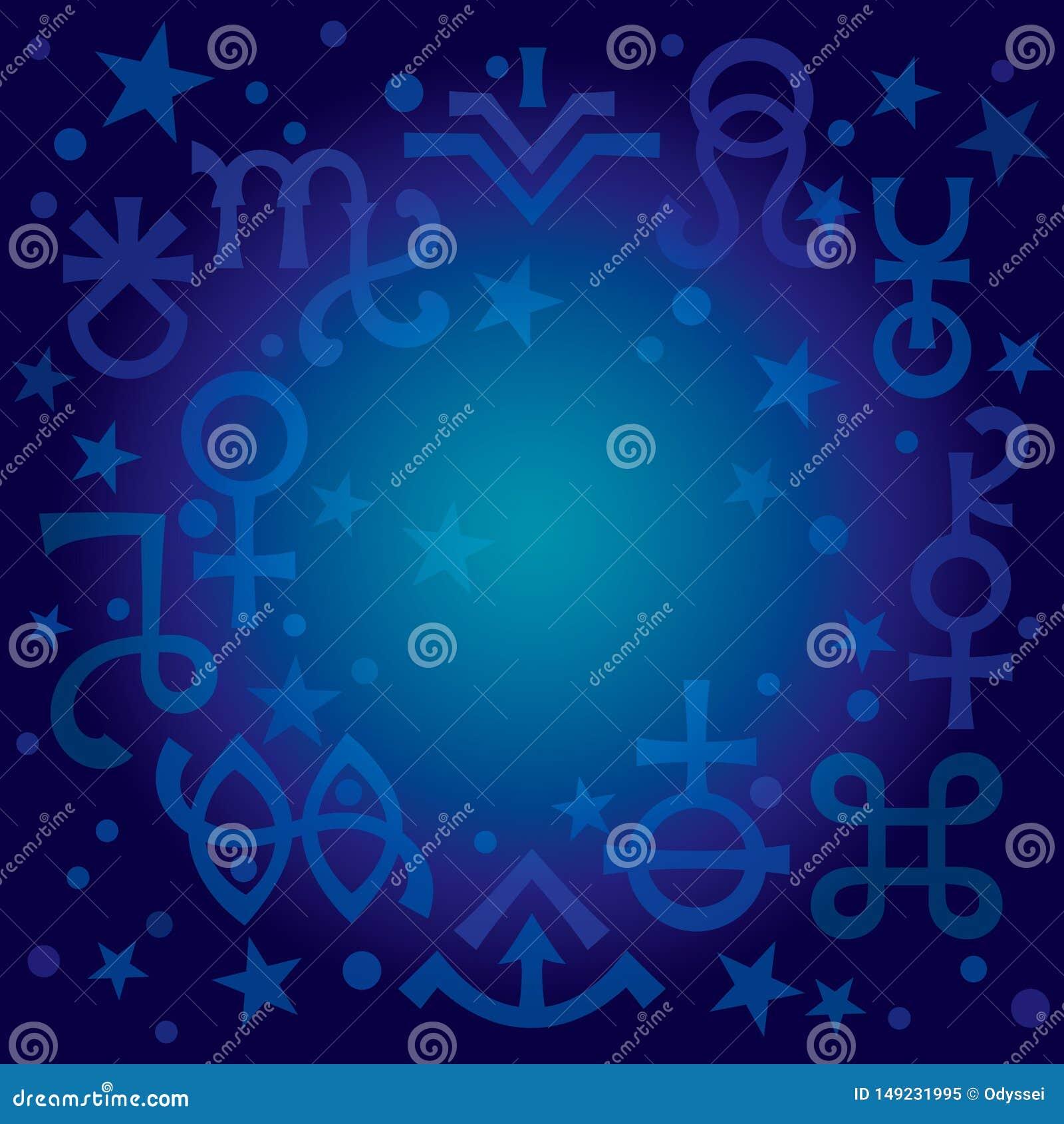 Astrologisches Diadem -- Tierkreiszeichen und geheimnisvolle mystische Symbole, himmlischer Musterhintergrund des Planes mit Ster