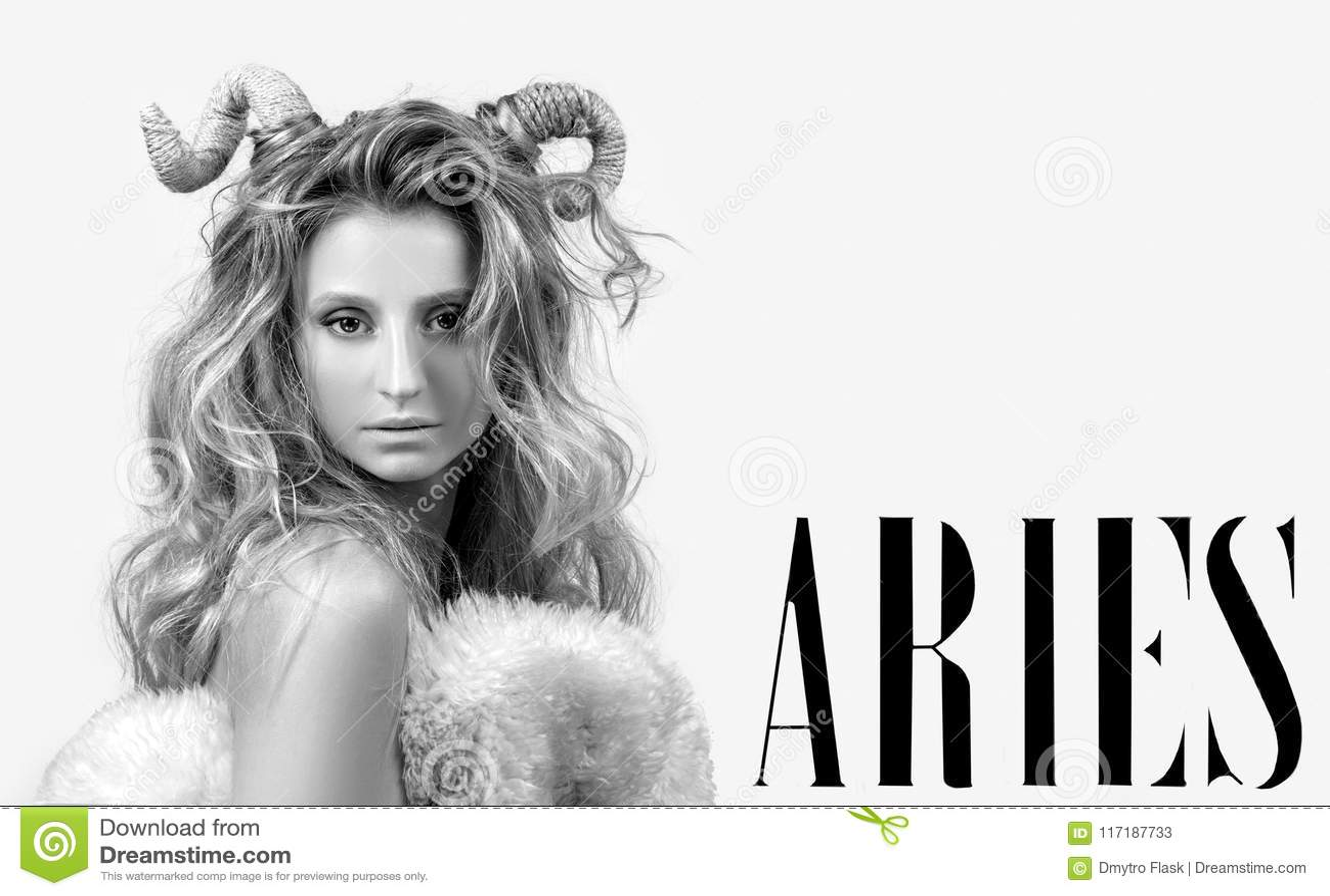 Astrology. Woman Aries Zodiac Sign.
