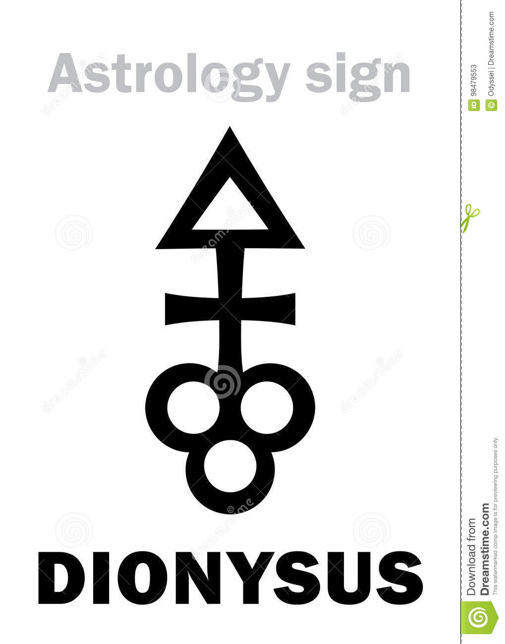Astrology: Asteroid DIONYSUS Stock Vector - Illustration of