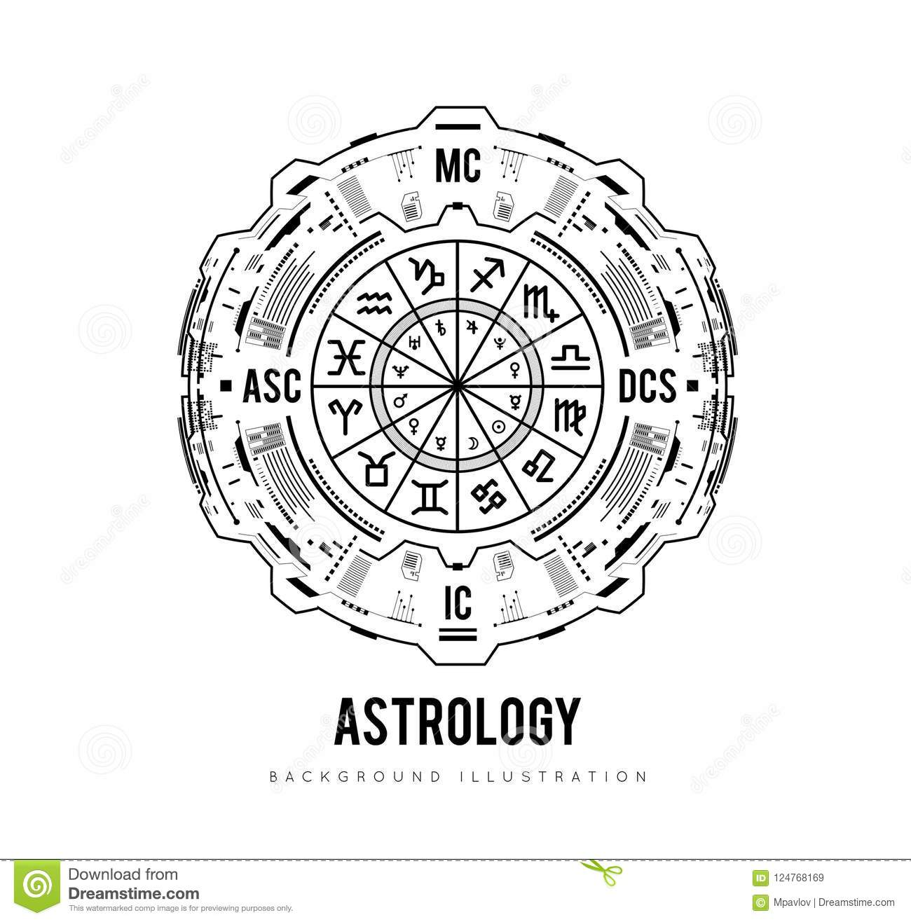Astrology Background Natal Chart Zodiac Signs Houses And Significators HUD Interface Futuristic