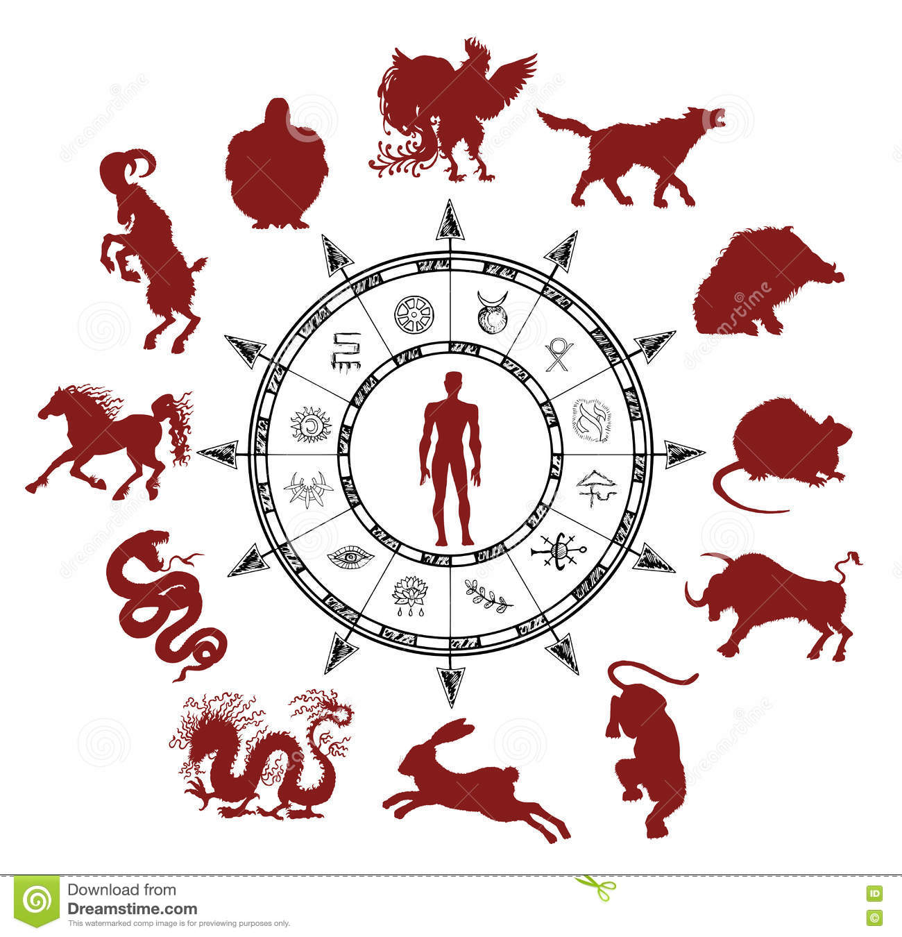 Astrology Chart With Silhouettes Of Chinese Zodiac Animals And Mystic Symbols