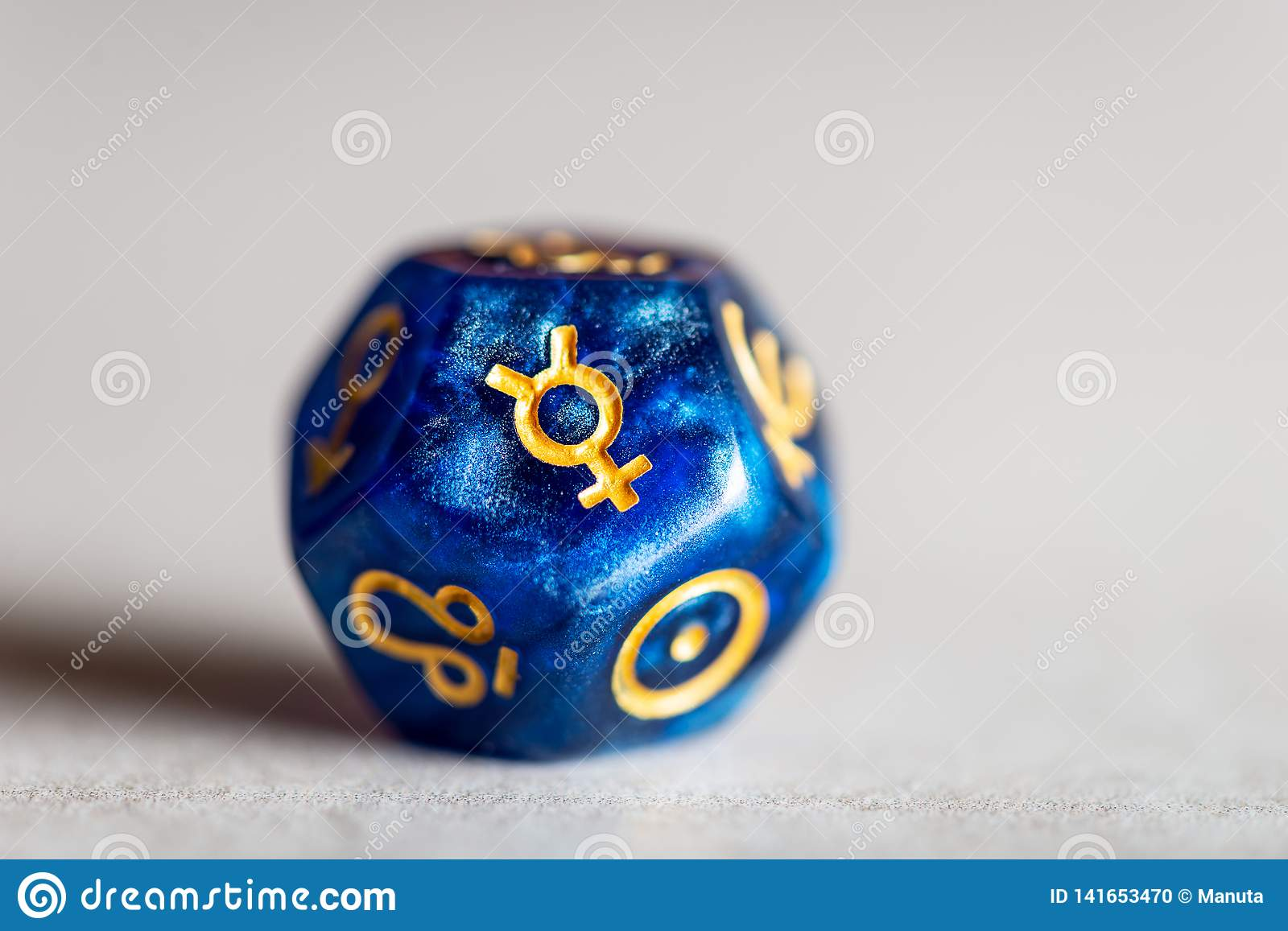 Astrology Dice with symbol of the planet Mercury