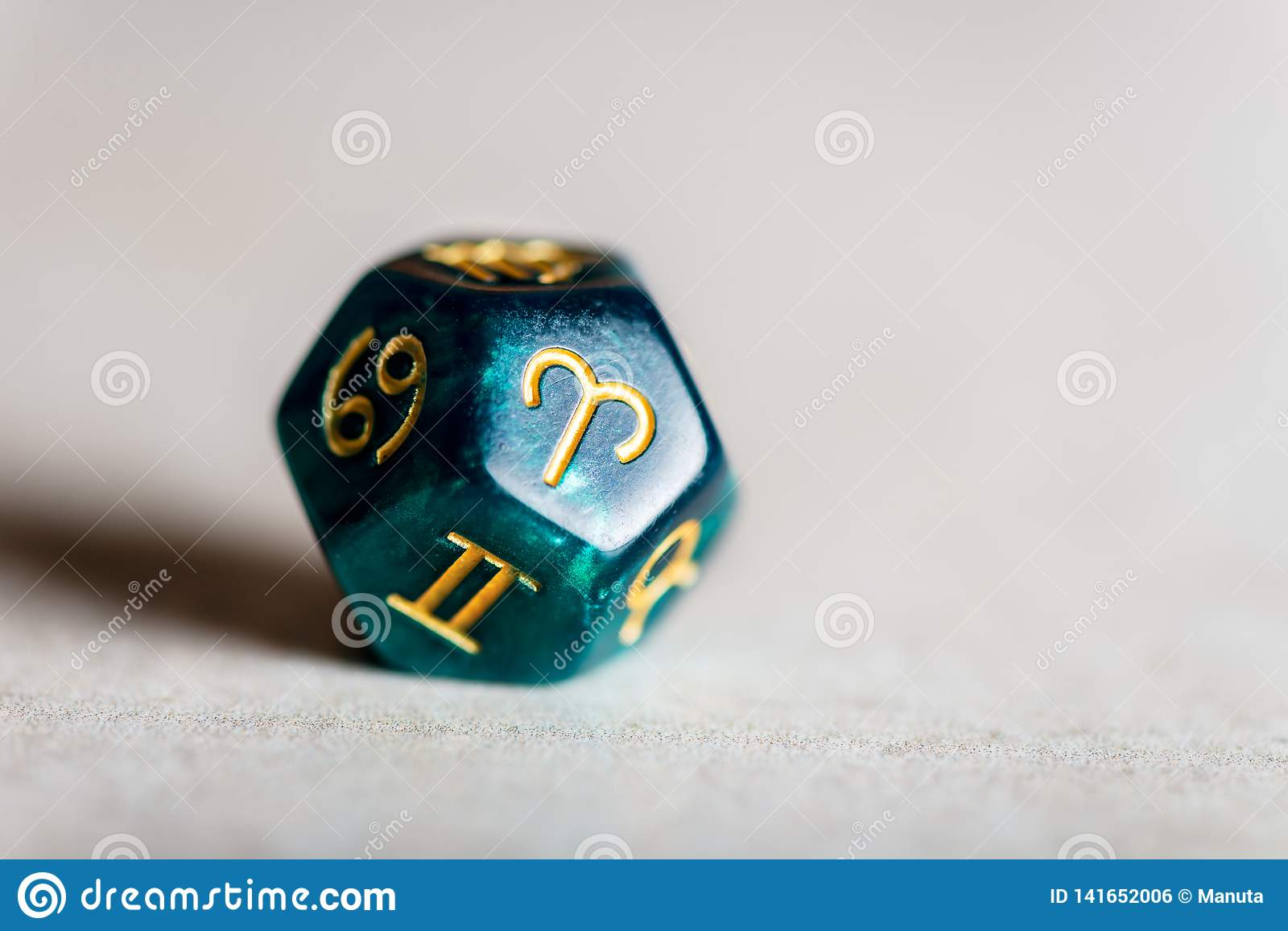 Astrology Dice with zodiac symbol of Aries