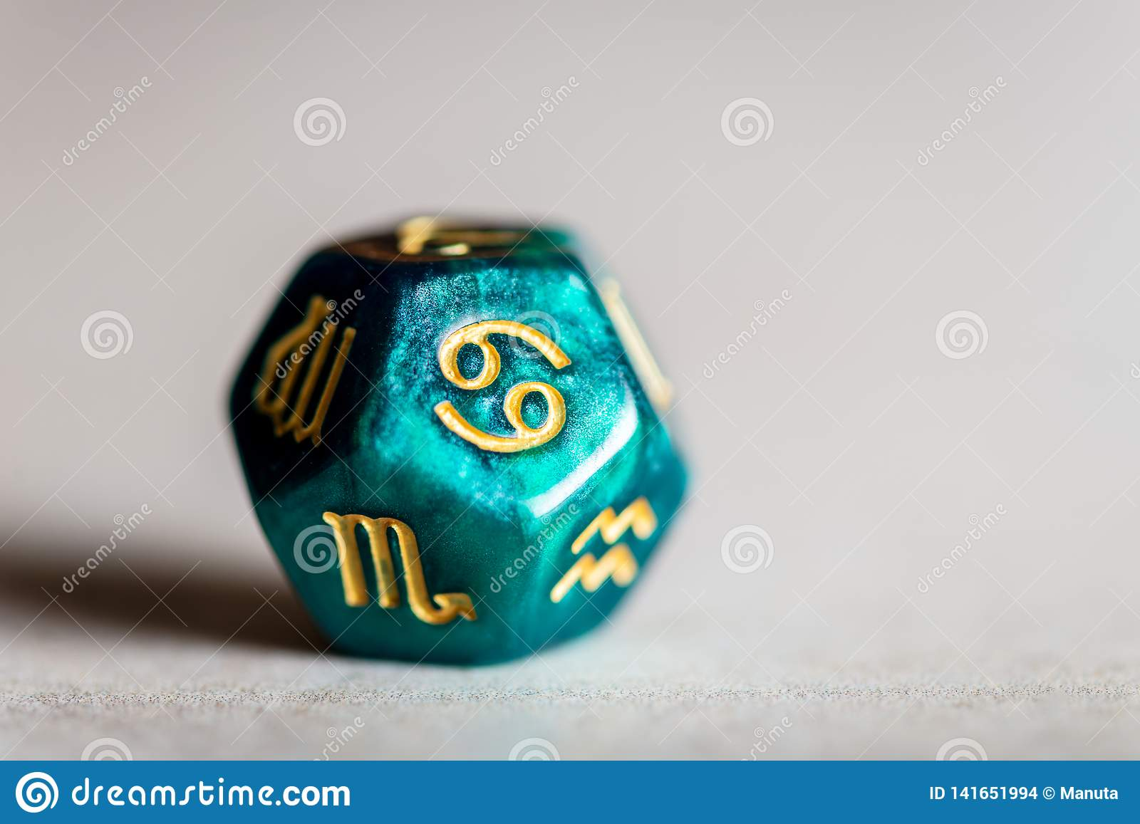 Astrology Dice with zodiac symbol of Cancer