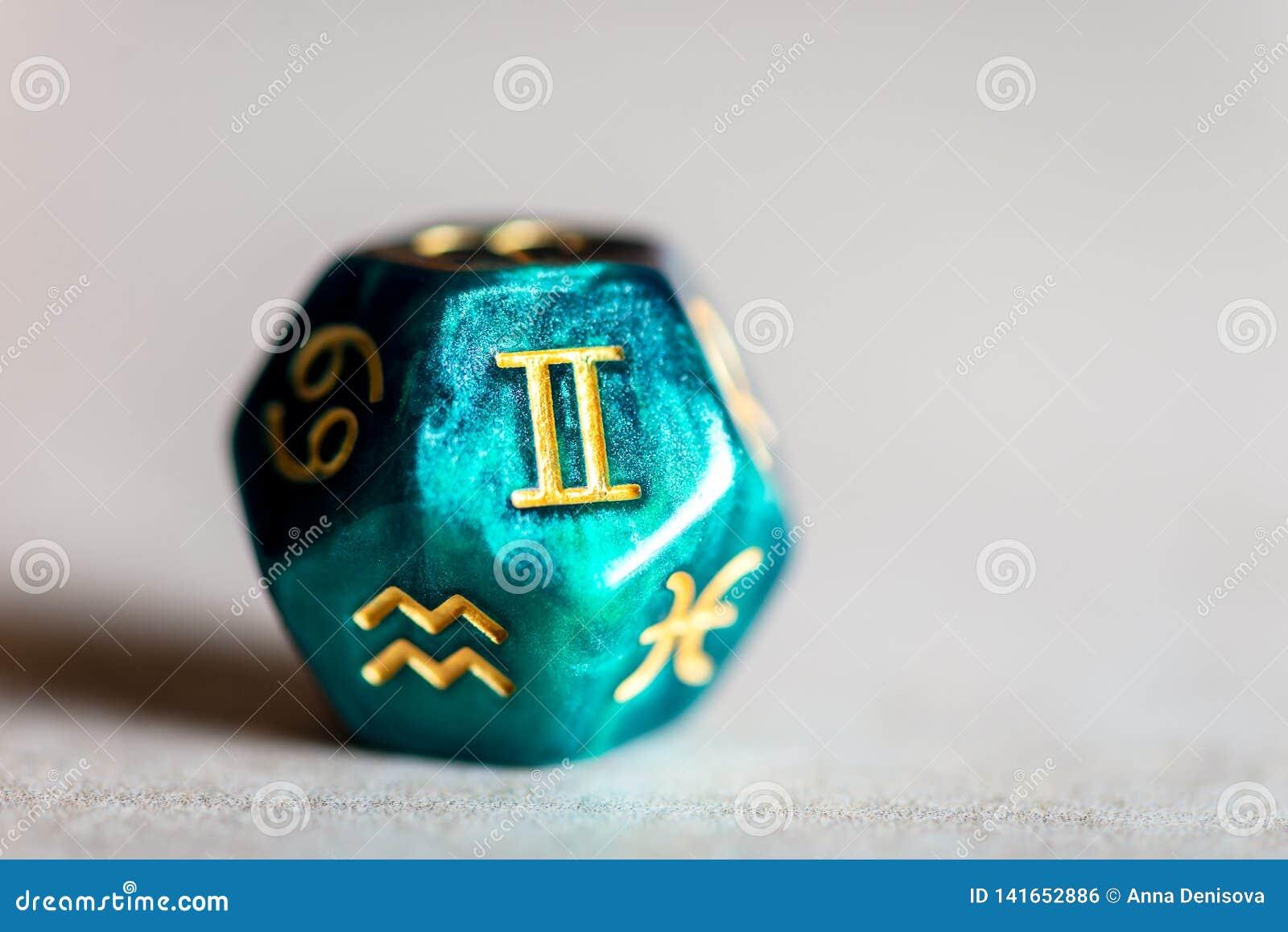 Astrology Dice with zodiac symbol of Gemini