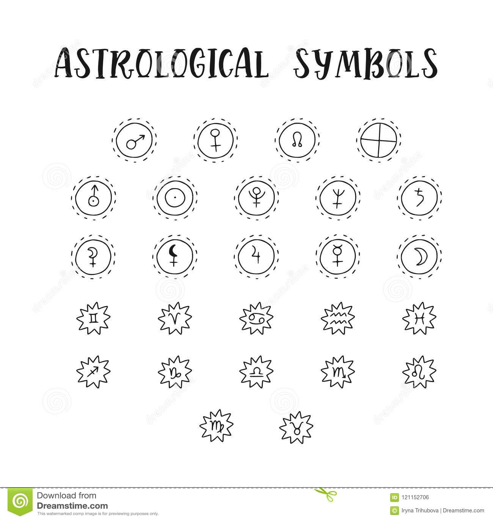Astrology Doodle Symbols Set Of Astrological Graphic Design