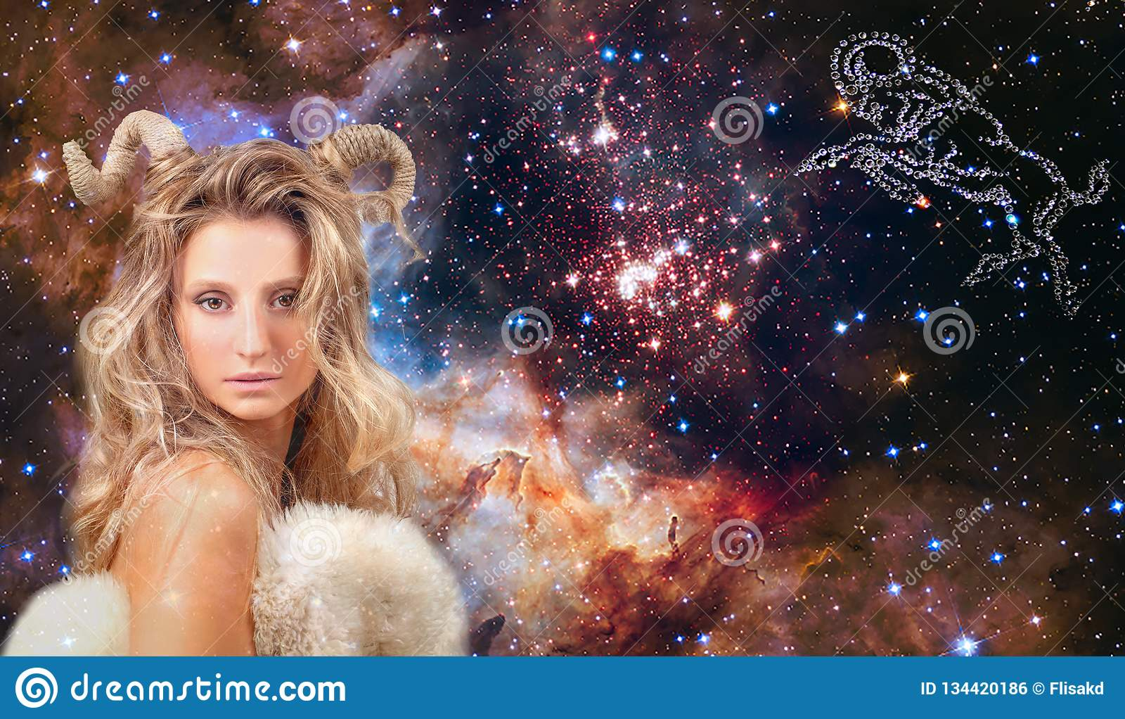 Astrology and horoscope. Aries Zodiac Sign, beautiful woman Aries on the galaxy background