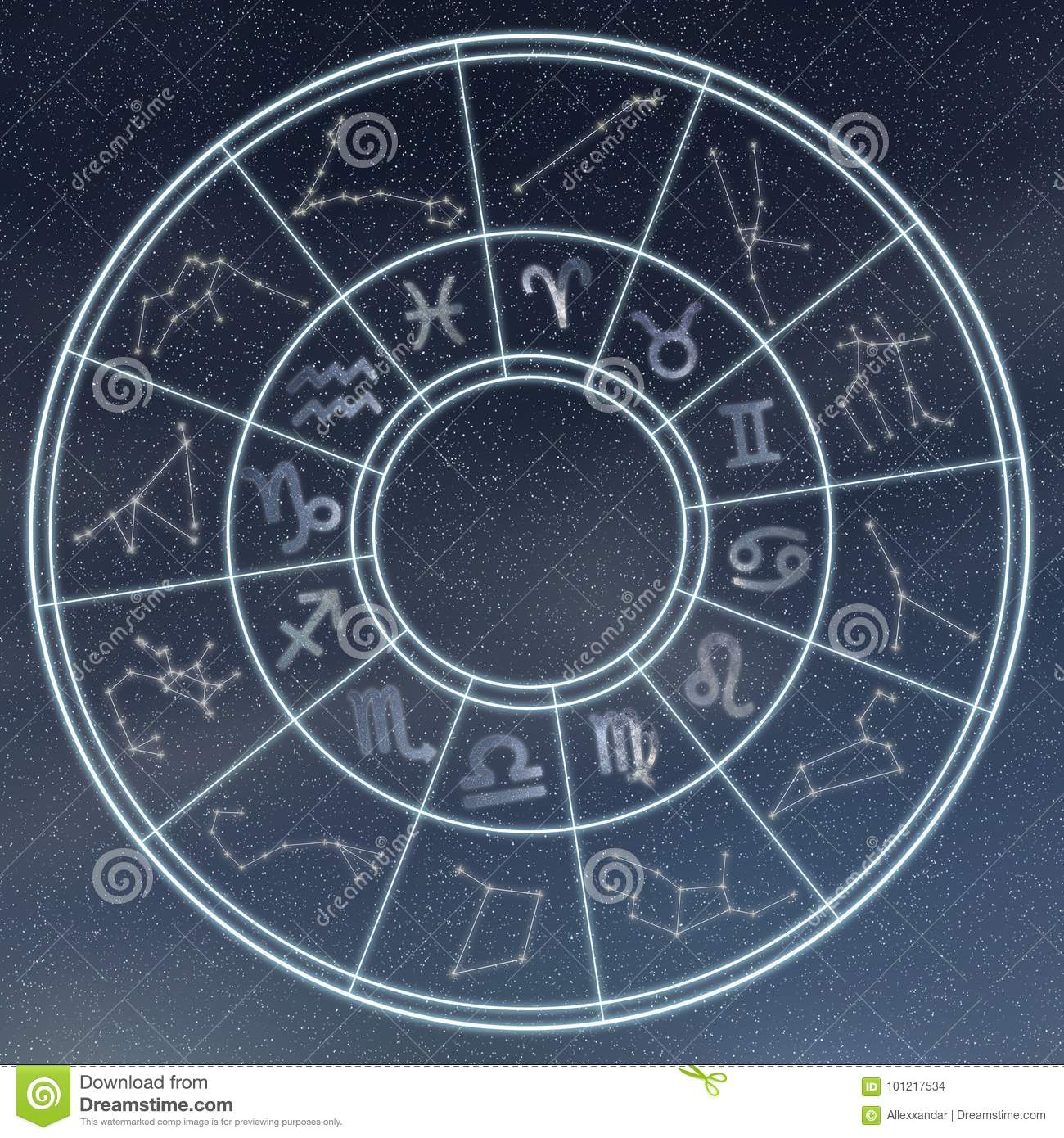 Astrology and horoscopes concept. Astrological zodiac signs in c