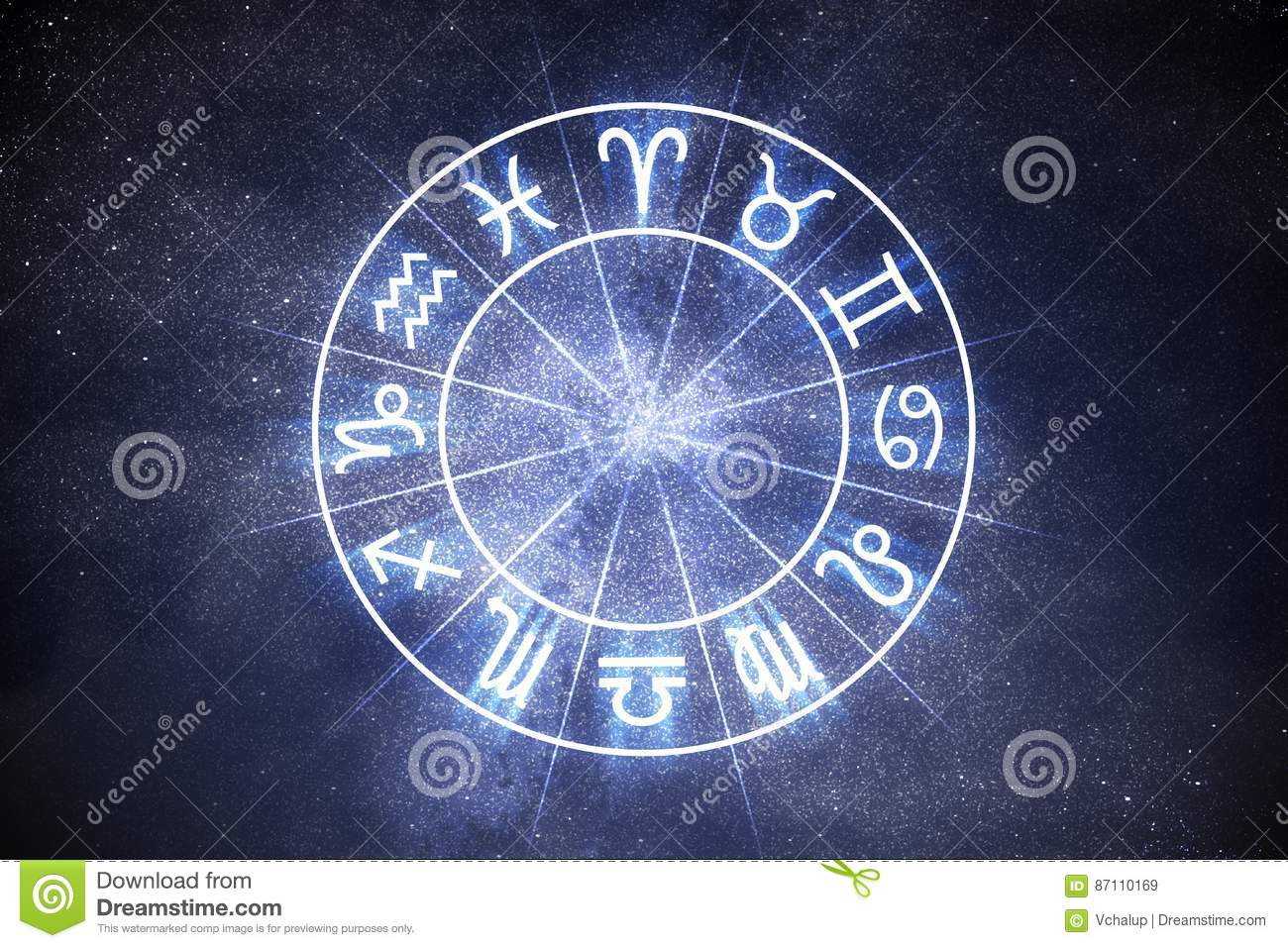 Astrology and horoscopes concept. Astrological zodiac signs in circle.