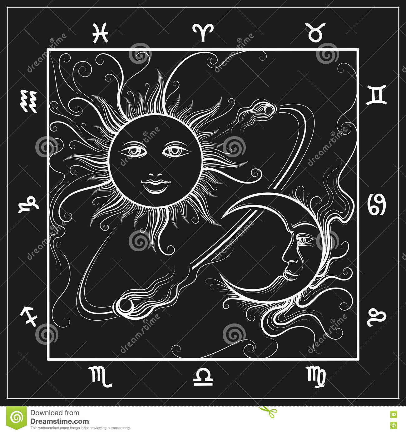 Astrology Map With Moon And Sun Stock Vector - Illustration of ...