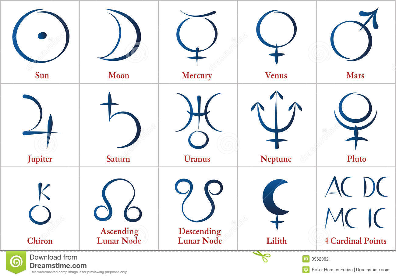Astrology planets calligraphy stock vector image
