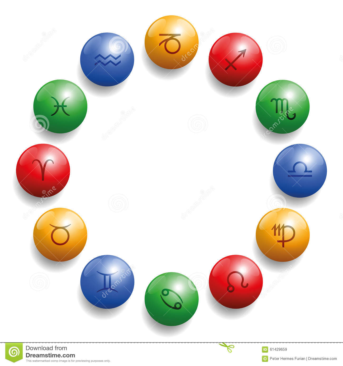 Stock Illustration Astrology Radix Symbols Circle Balls Twelve Colored Glossy Their Appropriate Element Color Red Fire Ocher Earth Blue Image61429659