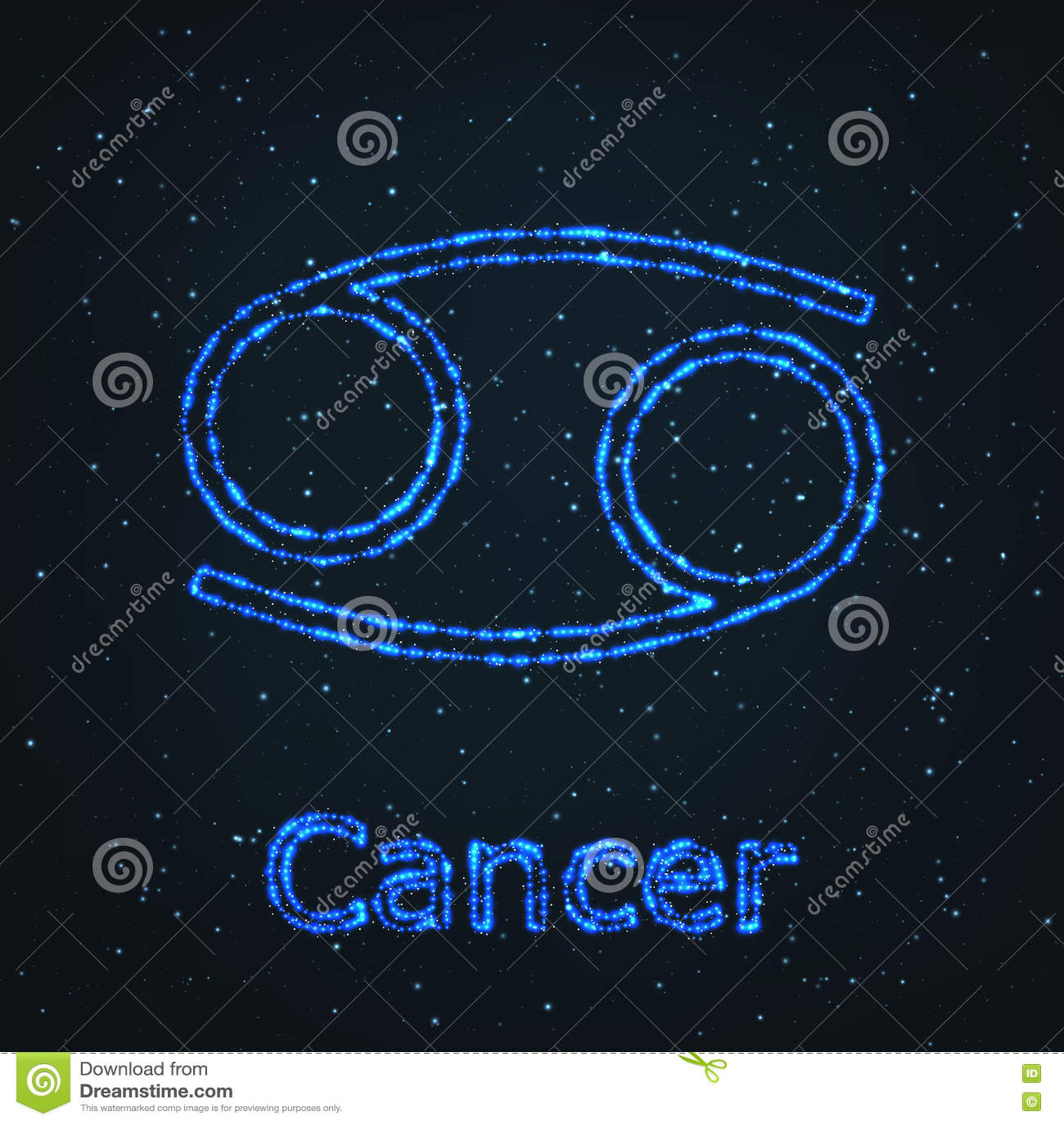 Astrology Shining Blue Symbol  Zodiac Cancer  Stock Vector