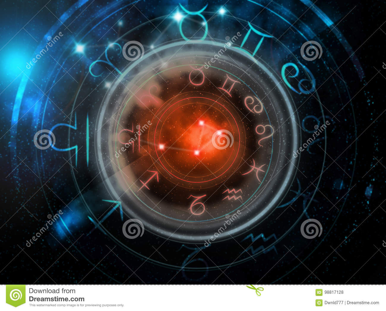 Astrology Signs On Dark Space Background Stock Illustration