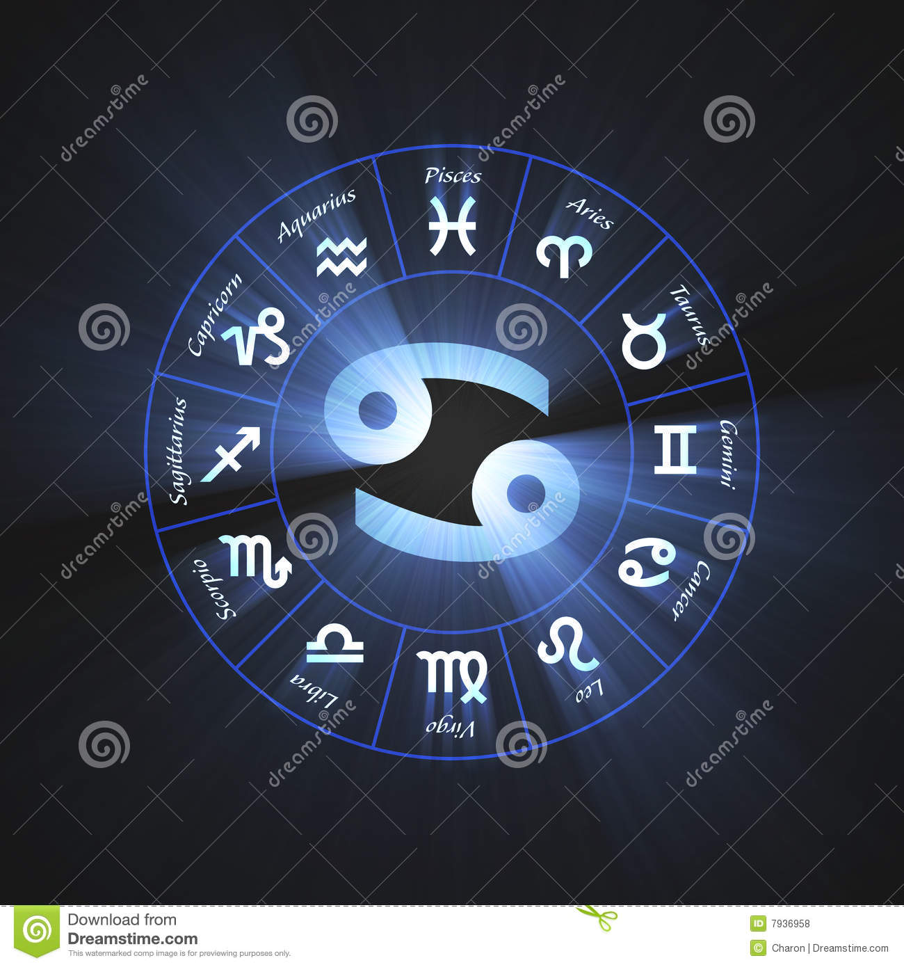 Astrology Symbol Cancer Light Flare Stock Illustration