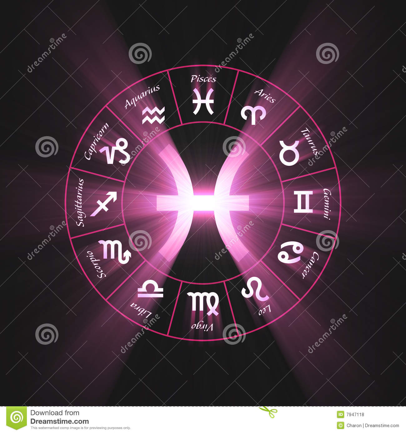 One of 12 zodiac symbols wheel set, illustrated with powerful glowing ...
