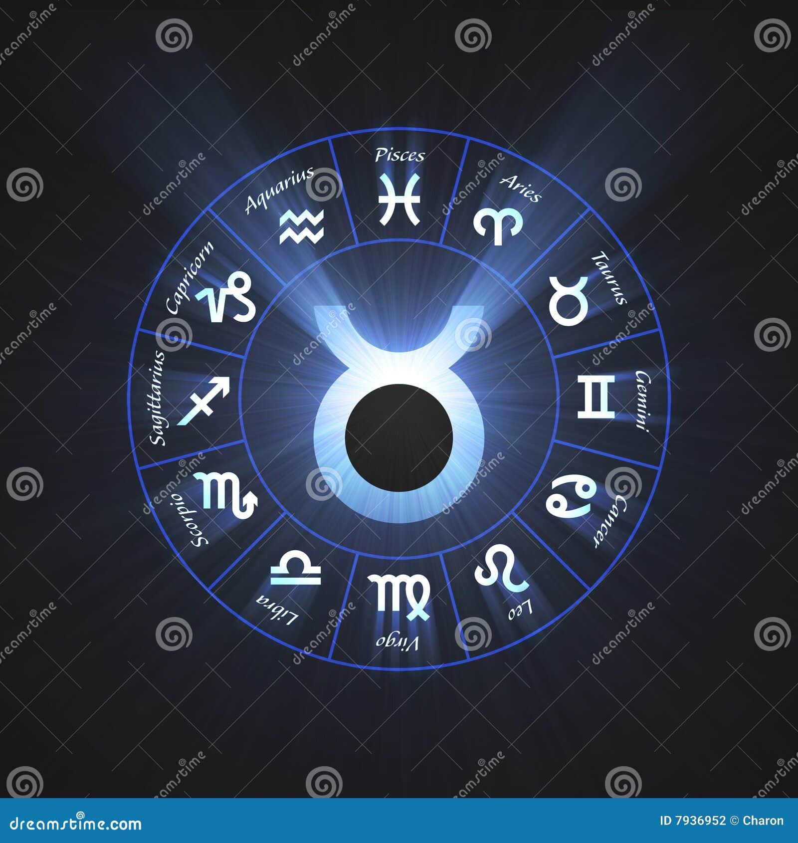 Astrology Symbol Taurus Light Flare Stock Illustration