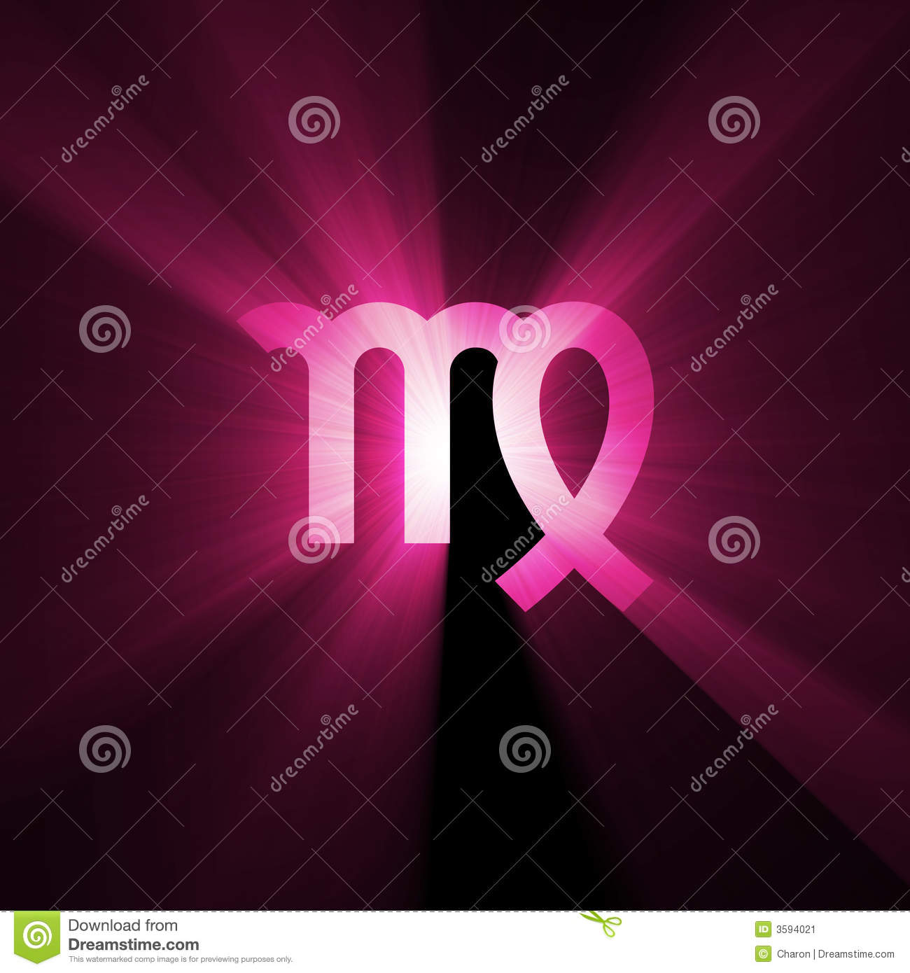 Astrology Symbol Virgo Light Flare Stock Illustration