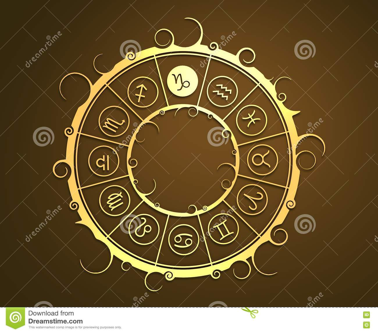 Astrology symbols in golden circle the sea goat sign stock photo royalty free stock photo biocorpaavc Images