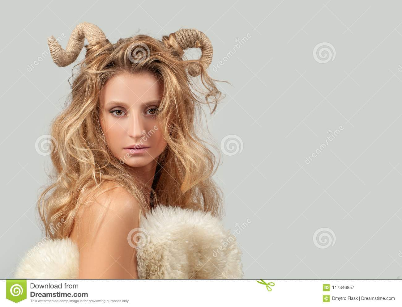 Astrology. Woman Aries Zodiac Sign.
