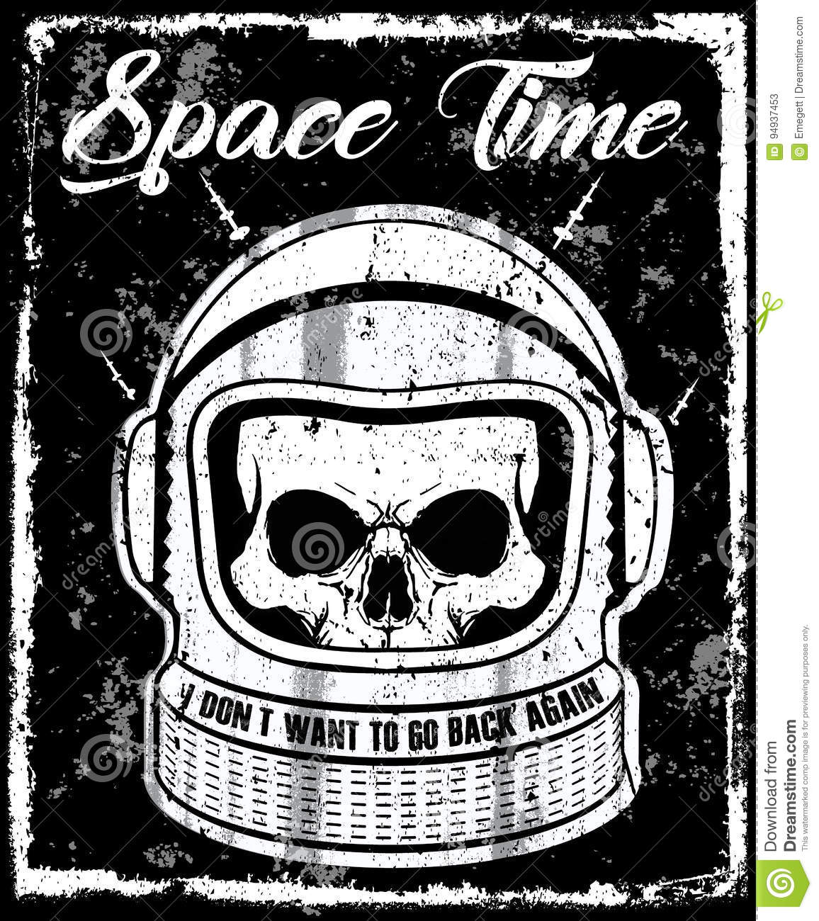 Astronaut Black And White Illustration Skull T Shirt Graphic Des Stock Vector Image 94937453