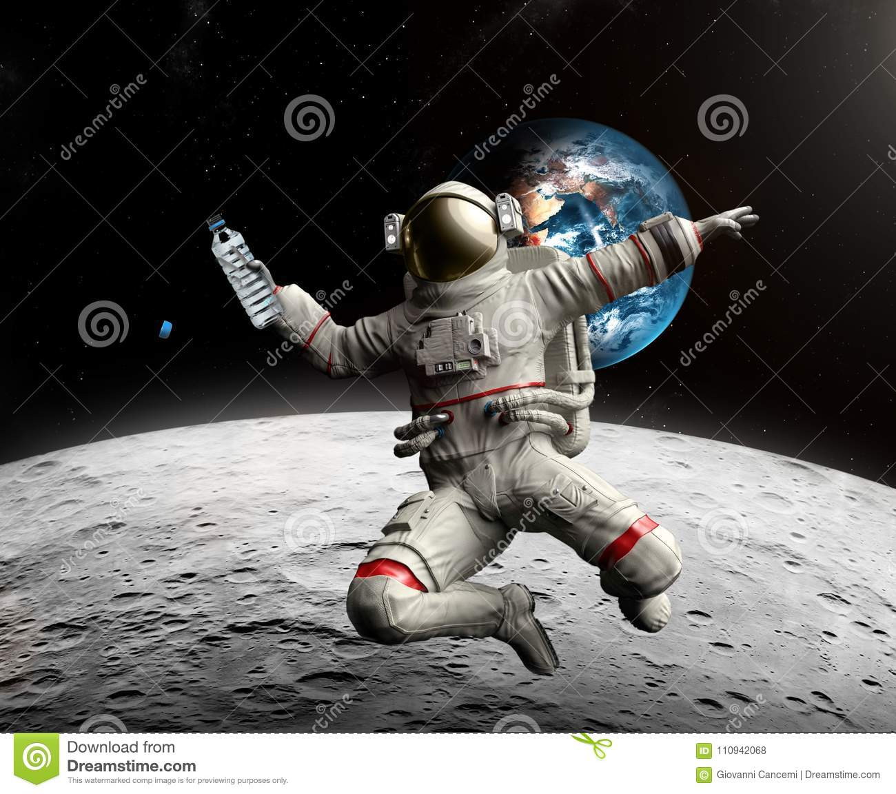 Astronaut with bottle of water in space