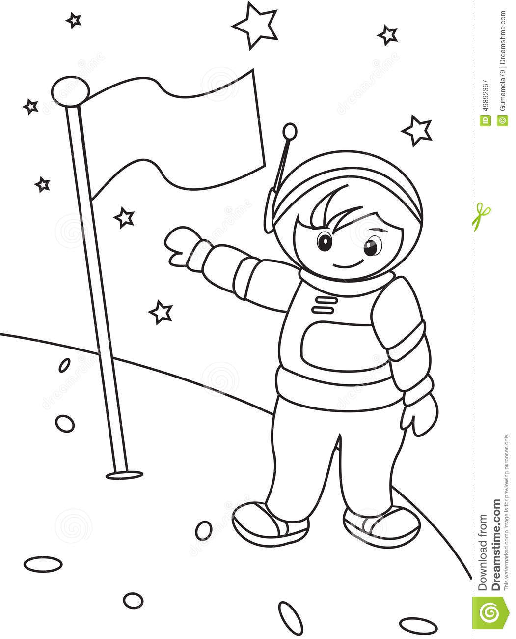 Astronaut coloring page stock illustration. Illustration of ...