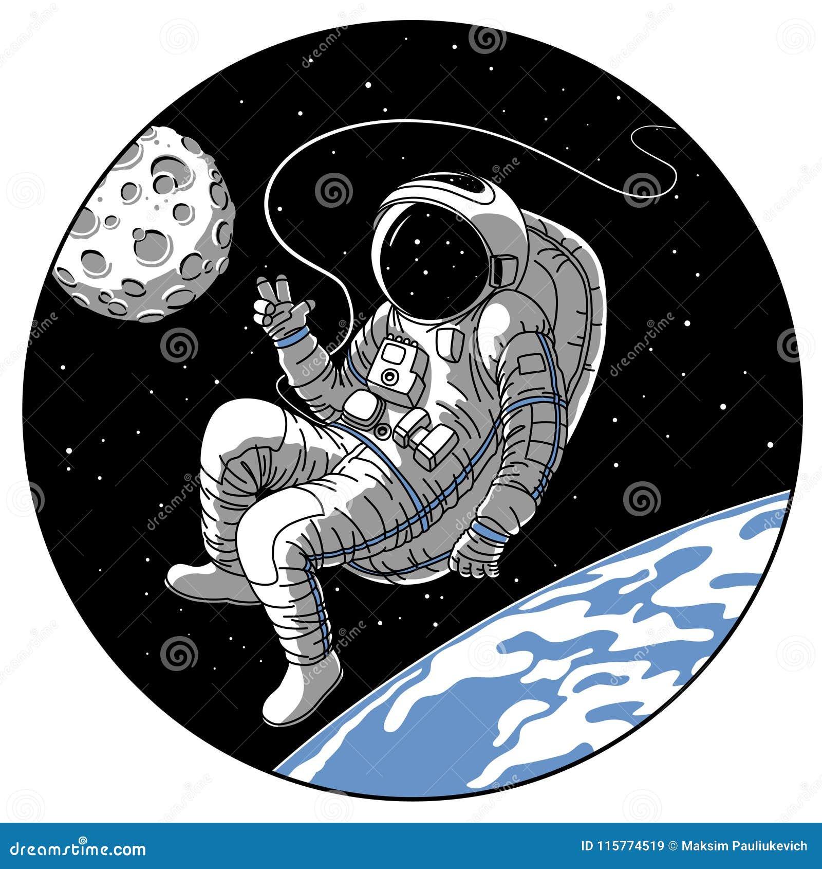 Astronaut or cosmonaut in open space vector sketch illustration