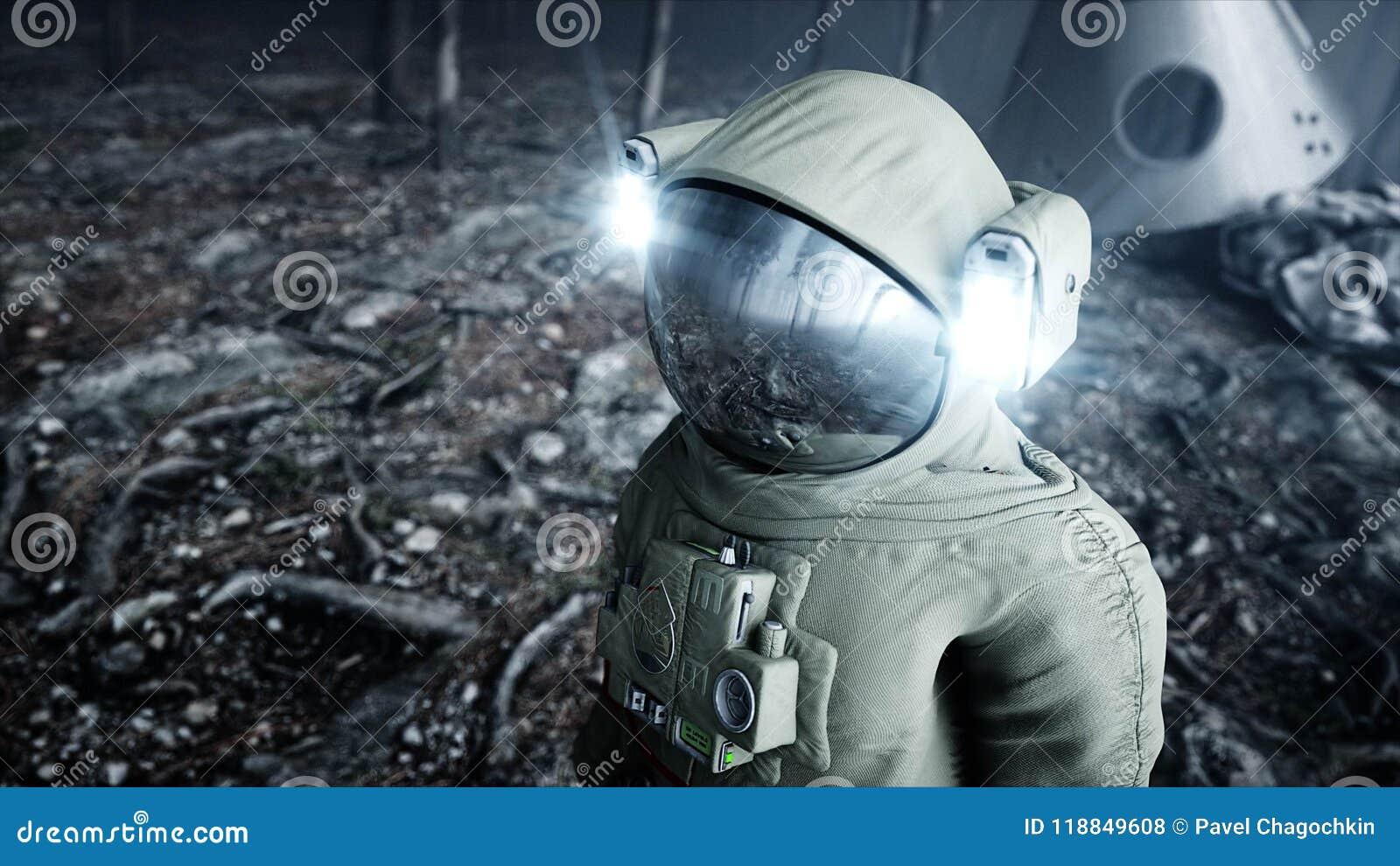Astronaut in de de bosvrees en verschrikking van de mistnacht landende plaats 4K animatie het 3d teruggeven