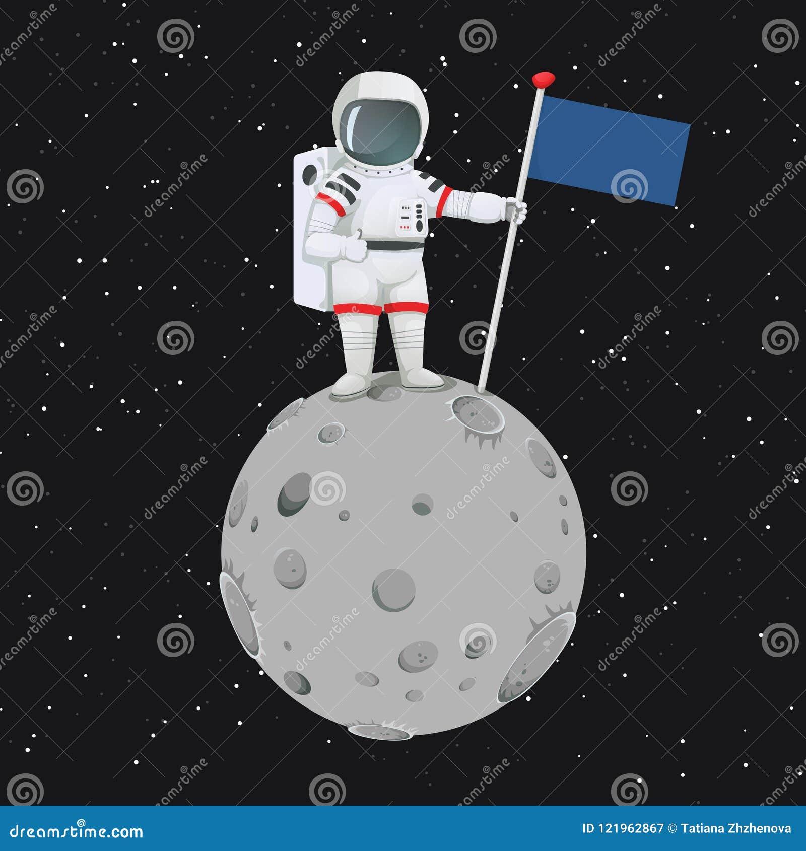 Astronaut, der Daumen herauf das Zeichen steht auf dem Mond mit einer Flagge gibt
