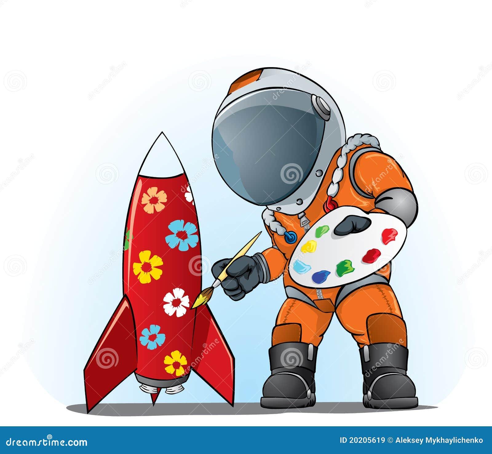 astronaut der die rakete malt vektor abbildung