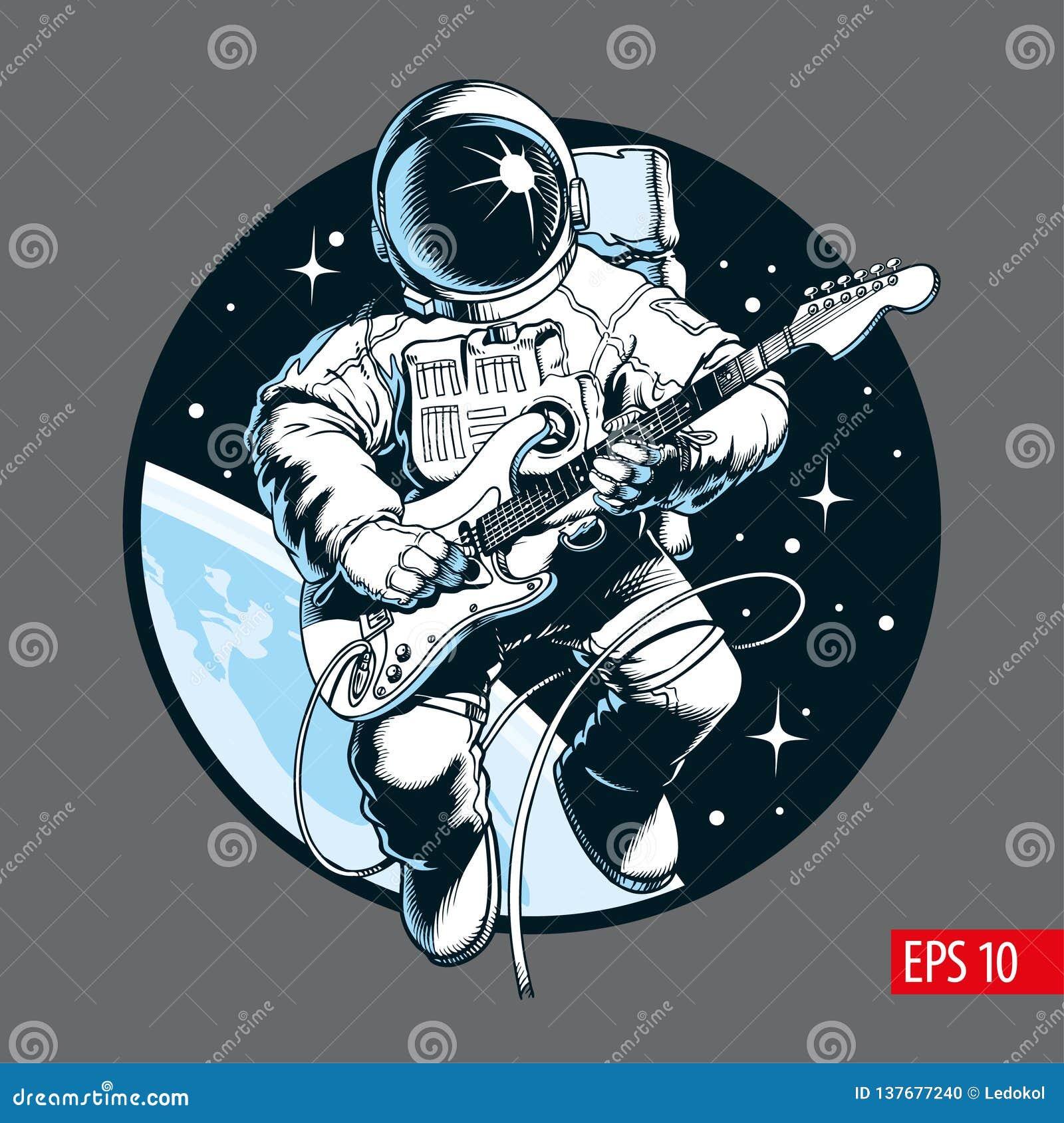 Astronaut die elektrische gitaar in ruimte spelen Ruimtetoeristen Vectorillustratie