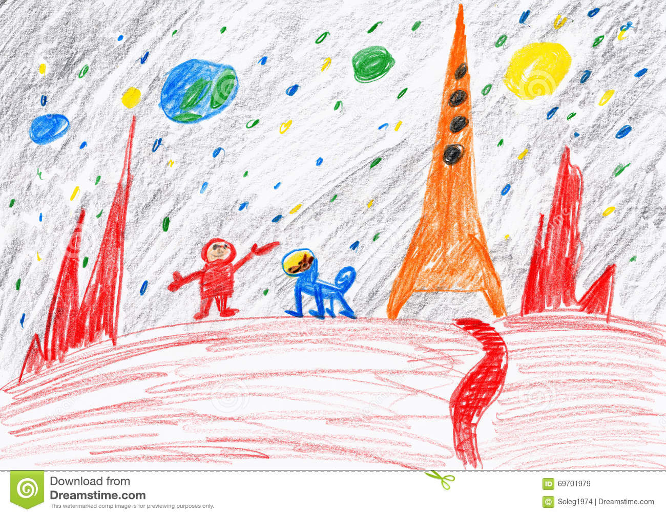 Astronaut and dog exploring the red planet space concept child drawing on paper stock - Dogs for small spaces concept ...