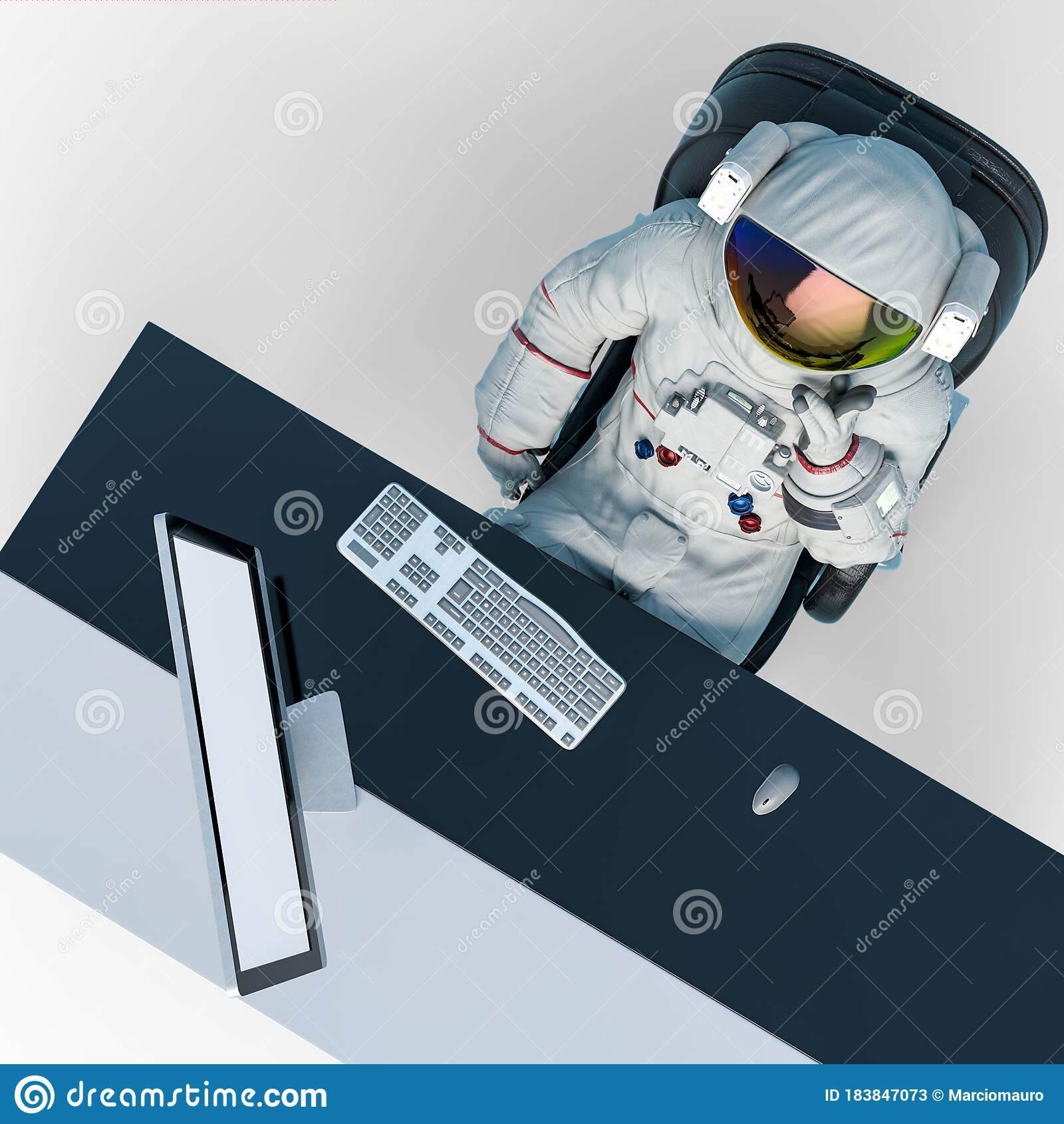 Astronaut Is Doing His Job From The Home Office Like A