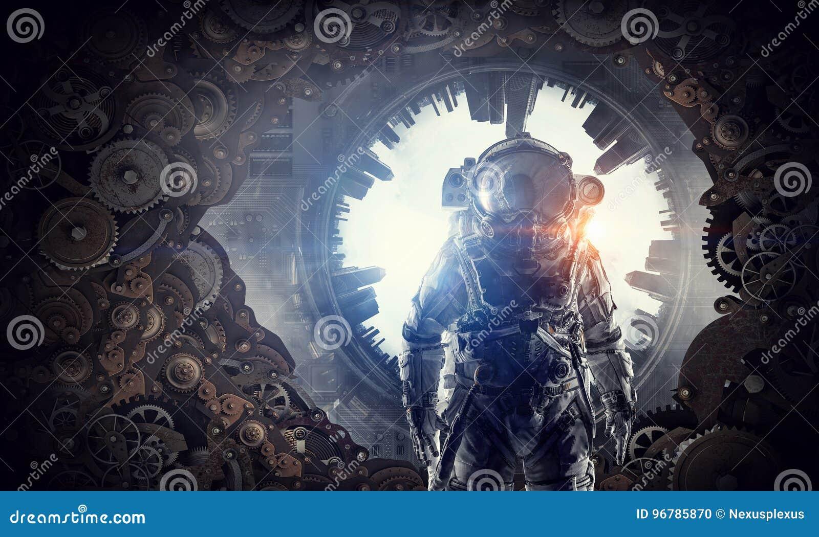 astronaut in fantasy world. mixed media stock illustration