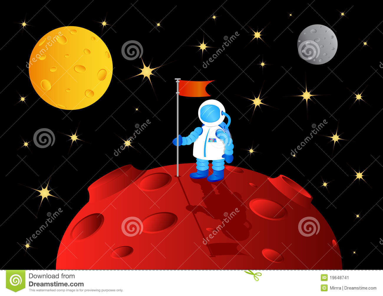 Astronaut With Flag Stock Image - Image: 19648741
