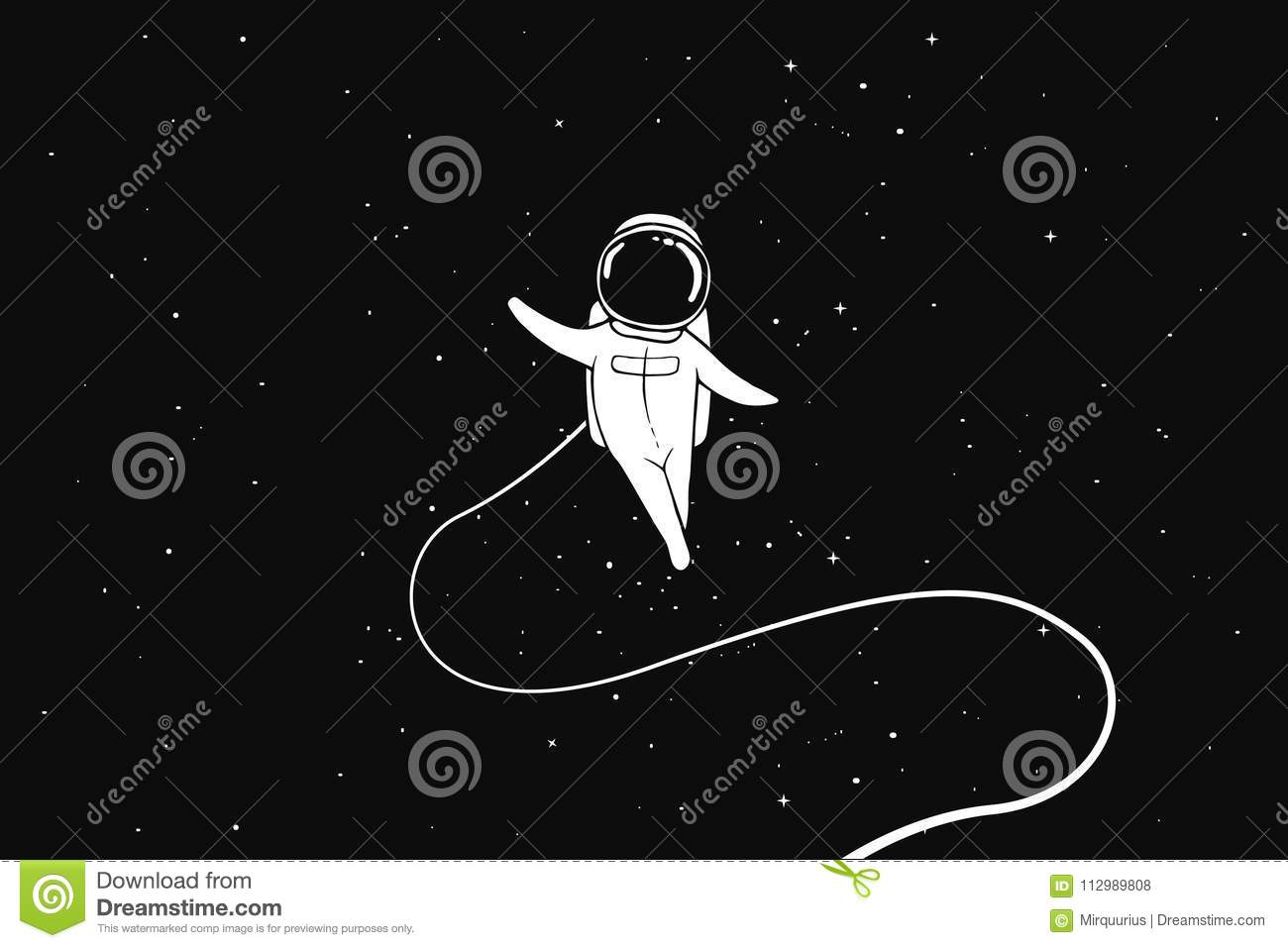 Astronaut flies alone in outer space