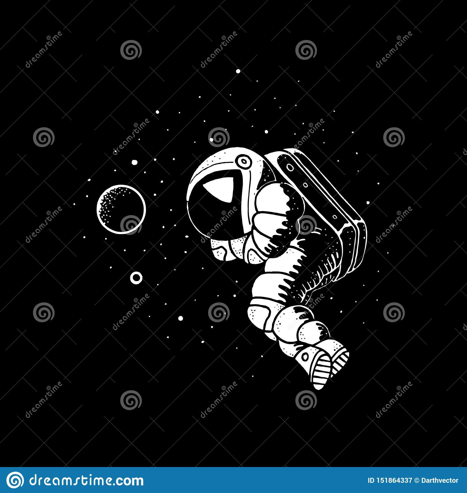 Astronaut Floating In Cosmos Vector Illustration Planets Stars