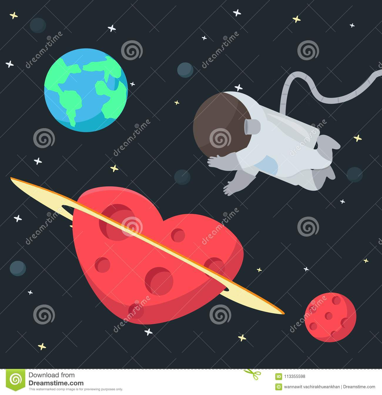astronaut floating in space background stock vector - illustration