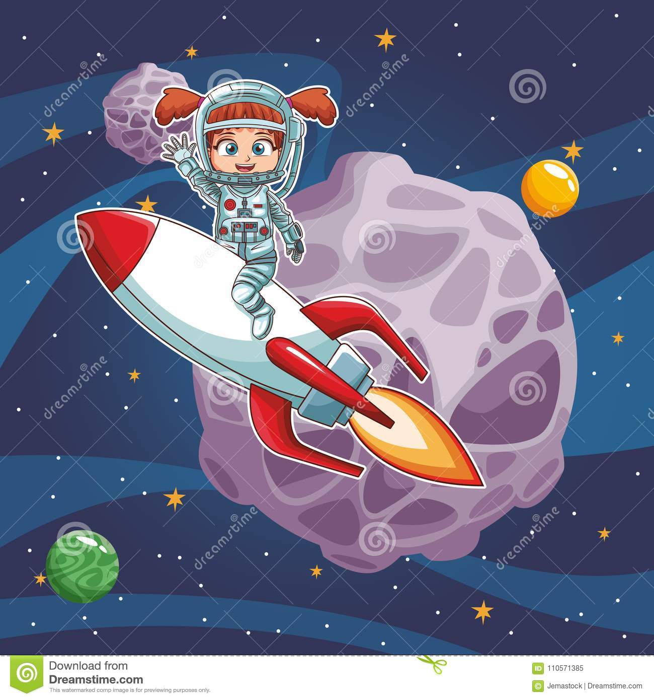 Astronaut Girl In The Space Stock Vector Illustration Of