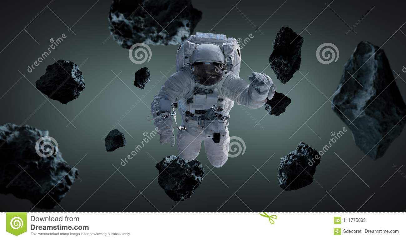 Astronaut isolated on grey background 3D rendering elements of t