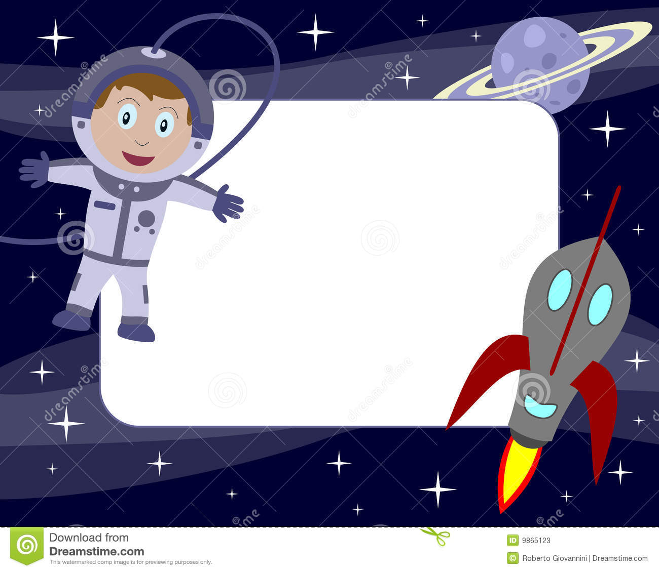 Boy Toys Border : Astronaut kid photo frame stock vector illustration