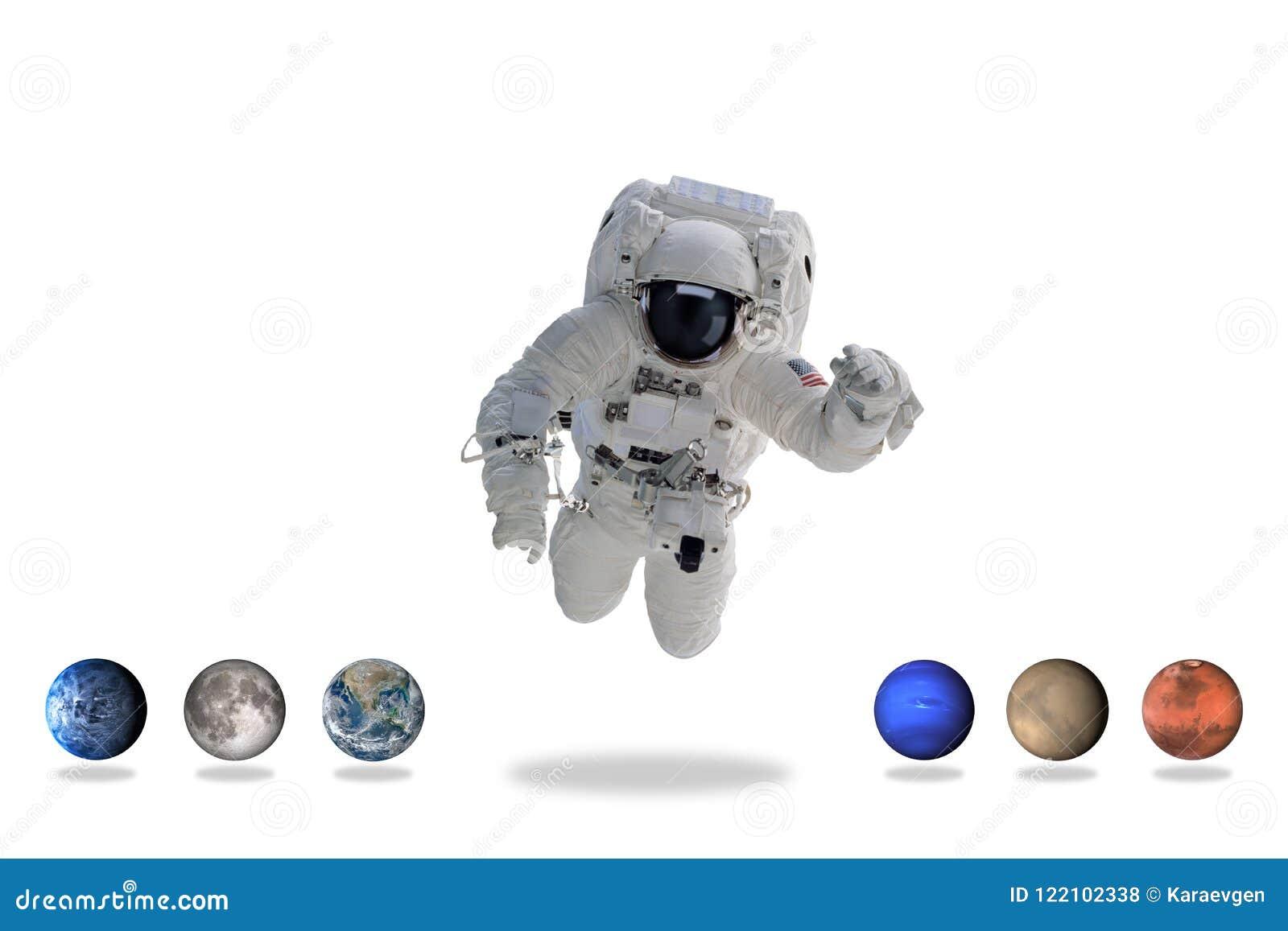 Astronaut in kosmische ruimte met planeten Minimaal art