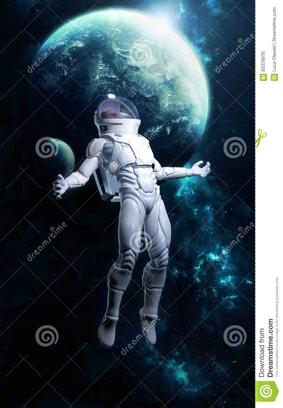 Astronaut Lost In Space Stock Illustration - Image: 83378976
